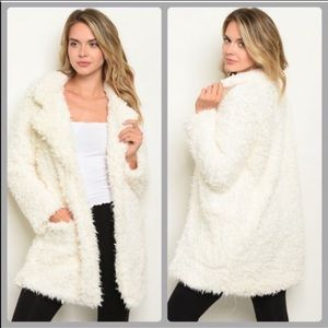 NWT! White Sherpa faux fur jacket